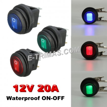 Illuminated LED Rocker Light Switch For Car Boat Marine Waterproof