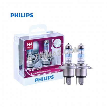 GENUINE Philips H4 X-treme Vision Plus + 130% High Low Beam Head Light (Twin)