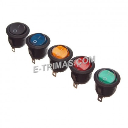 DC SPST Rocker Switch Round Toggle ON OFF Red LED 3 Pin Car