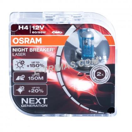 64193NBL OSRAM Night Breaker Laser H4 +130% Brightness Xenon Headlight (1SET)