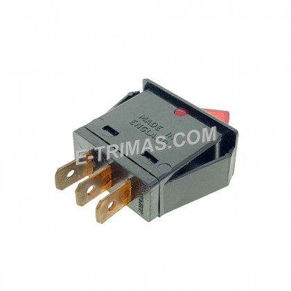 Rocker Switch Made In England 3 Pin Red Black