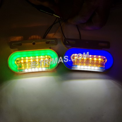 LED Illuminated Safety Side Marker Running Day Time Light Lamp Lorry Trailer Aksesori Lori Red Blue Green Yellow White