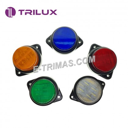 9 LED Trilux Round Side Marker Roof Signal Light Lamp Lori Lorry Truck Trailer 12-24V