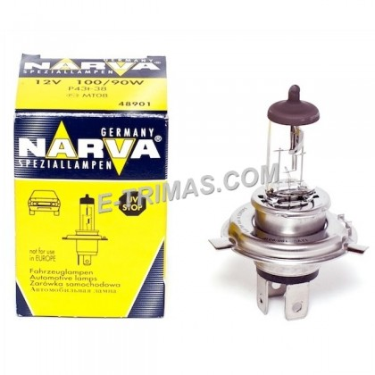 48901 Narva ORIGINAL H4 P43T 100/90W 12V Off Road Super Bright Halogen Bulb
