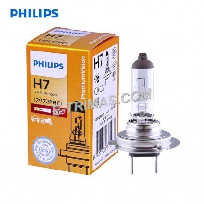 12972PR GENUINE Philips H7 12V 55W +30% Head Lamp Halogen Bulb