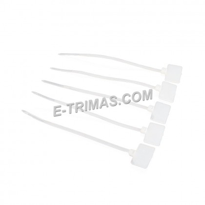 """2.5x100MM 4"""" Nylon Natural Cable Zip Ties with RJ45 Label Mark Tag (100PCS)"""
