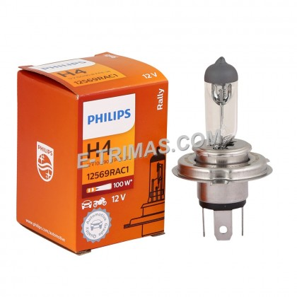 12569RA ORIGINAL Philips H4 P43T 100/90W 12V Rally Halogen Bulb